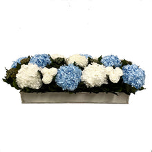 Load image into Gallery viewer, Wooden Rect. Container Antique Silver - Roses White, Brunia Natural, Hydrangea White & Ice Blue