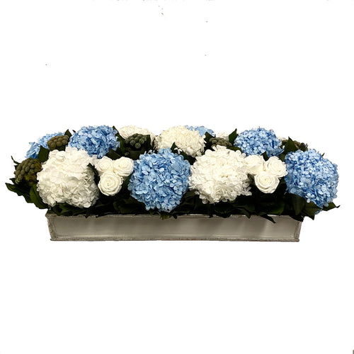Wooden Rect. Container Antique Silver - Roses White, Brunia Natural, Hydrangea White & Ice Blue