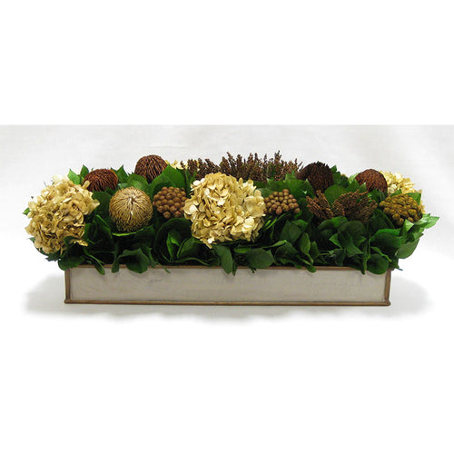 Wooden Short Rect Container - Patina Distressed w/ Bronze - Multi Brown and Hydrangea Ivory