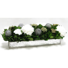 Load image into Gallery viewer, [WSRP-SAM-RBKSIHDW] Wooden Short Rect Silver w/ Antique Mirror Container - Roses White, Banksia Silver, Brunia Natural & Hydrangea White