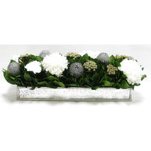 Load image into Gallery viewer, Wooden Short Rect Silver w/ Antique Mirror Container - Roses White, Banksia Silver, Brunia Natural & Hydrangea White
