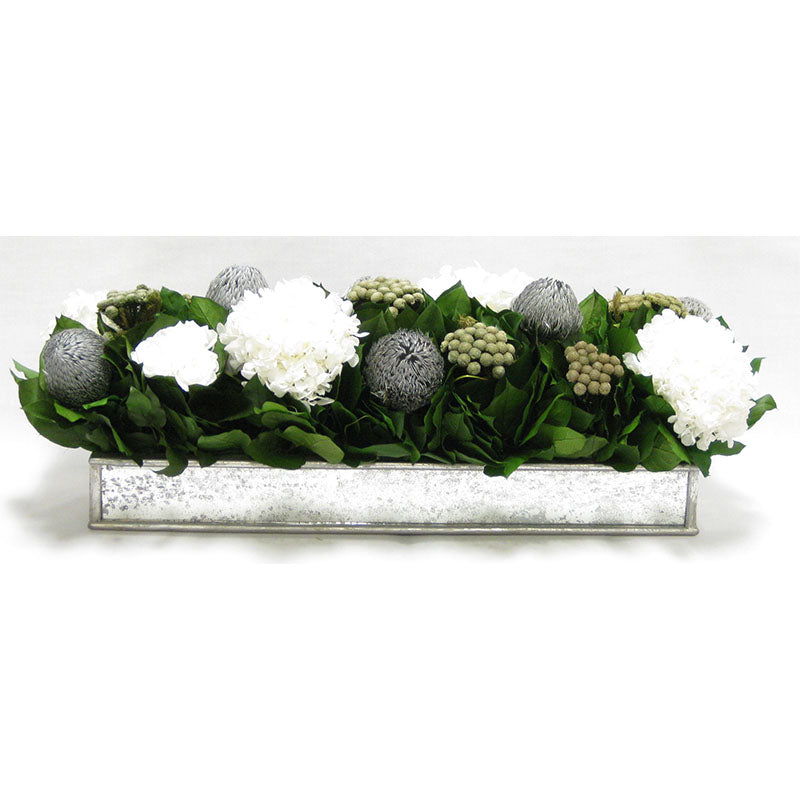 Wooden Short Rect Silver w/ Antique Mirror Container - Roses White, Banksia Silver, Brunia Natural & Hydrangea White