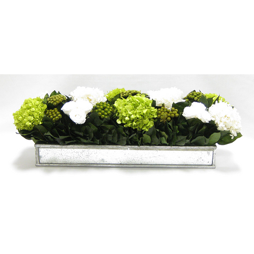 Wooden Short Rect Container w/ Silver Antique Mirror - Roses White, Brunia Yellow & Hydrangea Basil & White