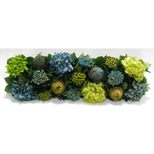 Load image into Gallery viewer, [WSRP-WA-HDBHDNB] Wooden Short Rect Container Natural - Banksia, Pharalis & Hydrangea Basil & Natural Blue