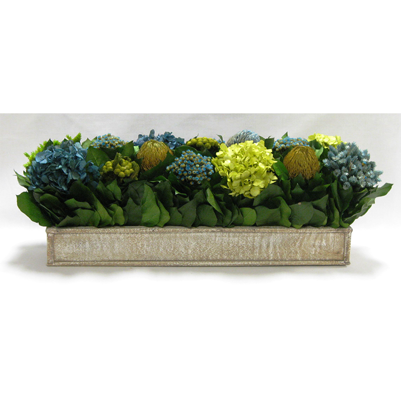 Wooden Short Rect Container Natural - Banksia, Pharalis & Hydrangea Basil & Natural Blue