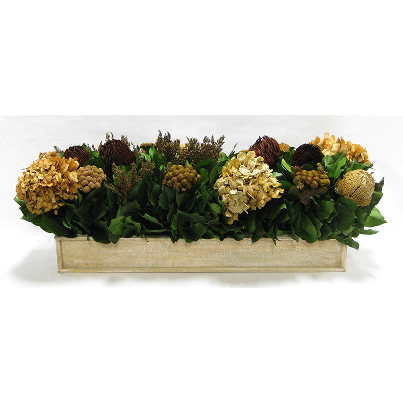 Wooden Rect. Container Natural - Multi Brown and Hydrangea Ivory