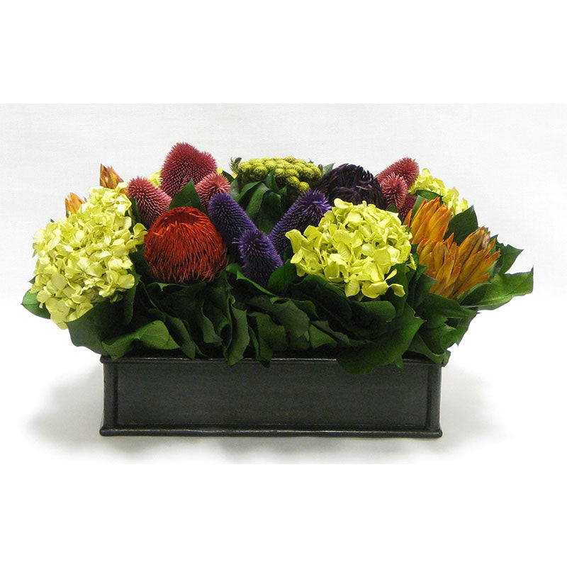 Wooden Short Rect.Container Antique Black - Banksia Red, Purple, Yellow, Teasil Burgundy, Purple & Hydrangea Basil