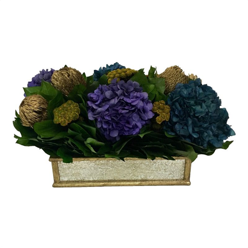 Wooden Short Rect Container Small Gold Antique w/ Antique Mirror - Banksia Gold, Hydrangea Purple & Natural Blue