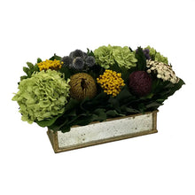 Load image into Gallery viewer, [WSRPS-GAM-ECHDB] Wooden Short Rect Container Small Gold w/ Antique Mirror - Echinops w/Banksia, Brunia, Pharalis & Hydrangea Basil