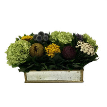 Load image into Gallery viewer, Wooden Short Rect Container Small Gold w/ Antique Mirror - Echinops w/Banksia, Brunia, Pharalis & Hydrangea Basil