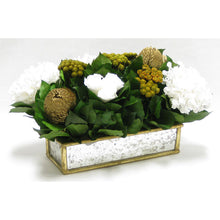 Load image into Gallery viewer, [WSRPS-GAM-RBKGOHDW] Wooden Short Rect Gold Small w/ Antique Mirror Container - Roses White, Banksia Gold, Brunia Gold & Hydrangea White