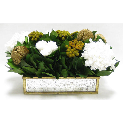 Wooden Short Rect Gold Small w/ Antique Mirror Container - Roses White, Banksia Gold, Brunia Gold & Hydrangea White
