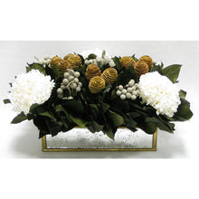 Load image into Gallery viewer, Wooden Short Rect Gold Small w/ Antique Mirror Container - Spiral Cone Natural, Brunia Spray & Hydrangea White
