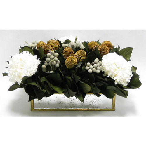 Wooden Short Rect Gold Small w/ Antique Mirror Container - Spiral Cone Natural, Brunia Spray & Hydrangea White
