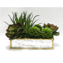 Load image into Gallery viewer, Wooden Short Rect.Container Small Gold Antique w/ Antique Mirror - Succulents Green & Burgundy Artificial