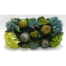 Load image into Gallery viewer, [WSRPS-GG-HDBHDNB] Wooden Short Rect. Container Grey Green - Banksia, Pharalis & Hydrangea Basil & Natural Blue
