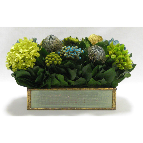 Wooden Short Rect. Container Grey Green - Banksia, Pharalis & Hydrangea Basil & Natural Blue