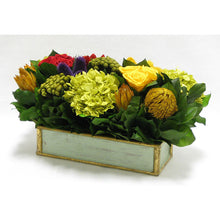 Load image into Gallery viewer, [WSRPS-GG-MLP4] Wooden Short Rect. Container Grey Green - Multicolor w/ Clover, Roses, Banksia, Protea & Hydrangea Basil