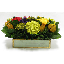 Load image into Gallery viewer, Wooden Short Rect. Container Grey Green - Multicolor w/ Clover, Roses, Banksia, Protea & Hydrangea Basil