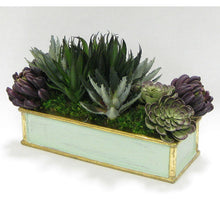 Load image into Gallery viewer, [WSRPS-GG-SUPU] Wooden Short Rect. Container Grey Green  - Succulents Sage & Purple Artificial