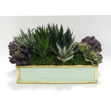 Load image into Gallery viewer, Wooden Short Rect. Container Grey Green  - Succulents Sage & Purple Artificial