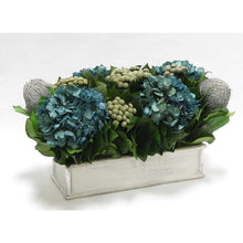 Load image into Gallery viewer, [WSRPS-GS-BKBRHDNB] Wooden Short Rect.Container Antique Silver  - Banksia Gray, Brunia Natural & Hydrangea Natural Blue
