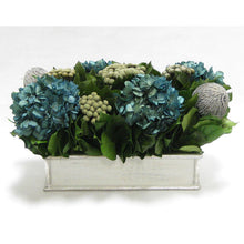 Load image into Gallery viewer, Wooden Short Rect.Container Antique Silver  - Banksia Gray, Brunia Natural & Hydrangea Natural Blue