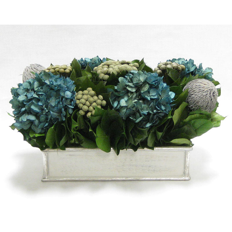 Wooden Short Rect.Container Antique Silver  - Banksia Gray, Brunia Natural & Hydrangea Natural Blue