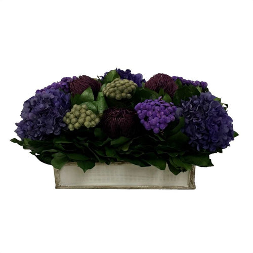 Wooden Short Rect.Container Antique Silver - Banksia Purple, Brunia Natural & Hydrangea Purple