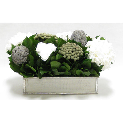 Wooden Short Rect.Container Antique Silver - Roses White, Banksia Lt Grey, Brunia Nat & Hydrangea White