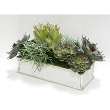 Load image into Gallery viewer, [WSRPS-GS-SUSG] Wooden Short Rect.Container Antique Silver - Succulents Sage Artificial