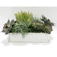 Load image into Gallery viewer, Wooden Short Rect.Container Antique Silver - Succulents Sage Artificial