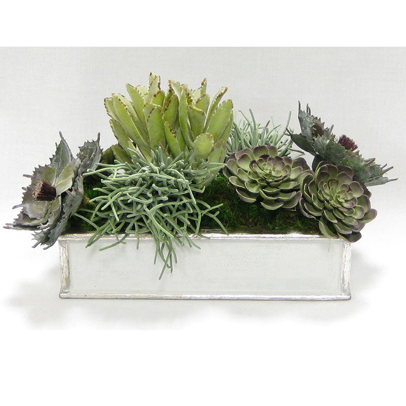 Wooden Short Rect.Container Antique Silver - Succulents Sage Artificial