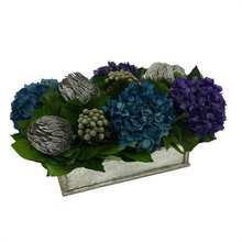 Load image into Gallery viewer, [WSRPS-SAM-BKSHDPUNB] Wooden Short Rect Container Small Silver Antique w/ Antique Mirror - Banksia Silver, Hydrangea Purple & Natural Blue