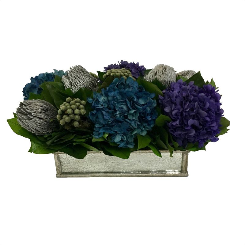 Wooden Short Rect Container Small Silver Antique w/ Antique Mirror - Banksia Silver, Hydrangea Purple & Natural Blue