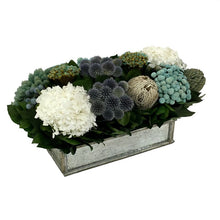Load image into Gallery viewer, [WSRPS-SAM-ECHDW] Wooden Short Rect Container Small Silver w/ Antique Mirror - Echinops w/ Banksia, Brunia, Pharalis & Hydrangea White