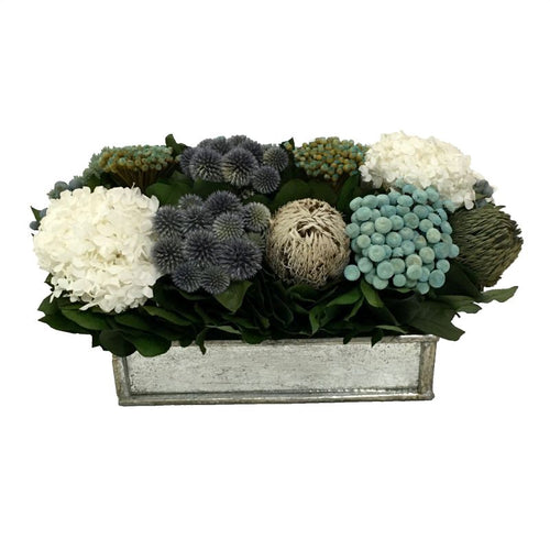Wooden Short Rect Container Small Silver w/ Antique Mirror - Echinops w/ Banksia, Brunia, Pharalis & Hydrangea White