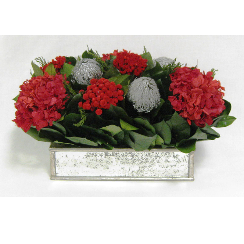 Wooden Short Rect Antique Silver Mirror Container - Silver Banksia & Hydrangea Red
