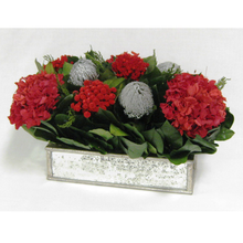 Load image into Gallery viewer, [WSRPS-SAM-HLD19] Wooden Short Rect Antique Silver Mirror Container - Silver Banksia & Hydrangea Red