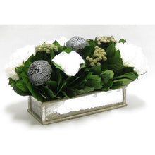 Load image into Gallery viewer, [WSRPS-SAM-RBKSIHDW] Wooden Short Rect Gold Small w/ Antique Mirror Container - Roses White, Banksia Silver, Brunia Natural & Hydrangea White