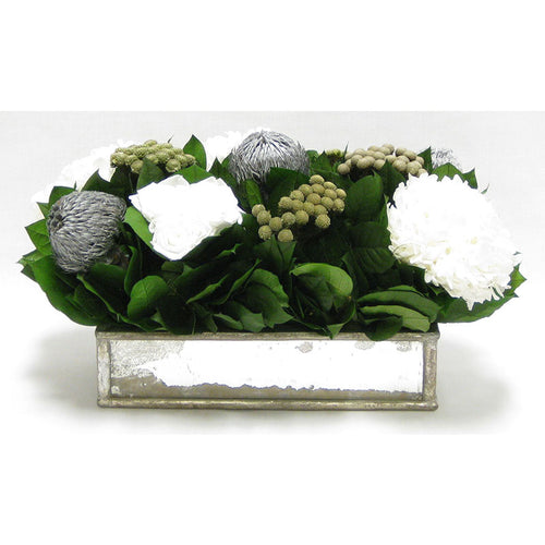 Wooden Short Rect Gold Small w/ Antique Mirror Container - Roses White, Banksia Silver, Brunia Natural & Hydrangea White