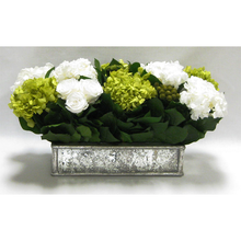 Load image into Gallery viewer, Wooden Short Rect Gold Small w/ Antique Mirror Container - Roses White, Brunia Yellow & Hydrangea Basil & White