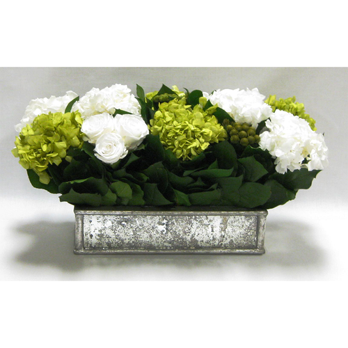 Wooden Short Rect Gold Small w/ Antique Mirror Container - Roses White, Brunia Yellow & Hydrangea Basil & White