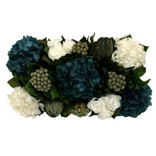 Load image into Gallery viewer, [WSRPS-SAM-RHDNBHDW] Wooden Short Rect Container Small Silver w/ Antique Mirror - Roses White, Brunia Natural Brunia, Hydrangea Natural Blue & White