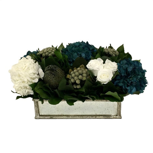 Wooden Short Rect Container Small Silver w/ Antique Mirror - Roses White, Brunia Natural Brunia, Hydrangea Natural Blue & White