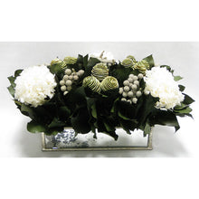 Load image into Gallery viewer, Wooden Short Rect Silver Small w/ Antique Mirror Container - Spiral Cone Frosted, Brunia Spray & Hydrangea White