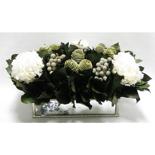 Wooden Short Rect Silver Small w/ Antique Mirror Container - Spiral Cone Frosted, Brunia Spray & Hydrangea White