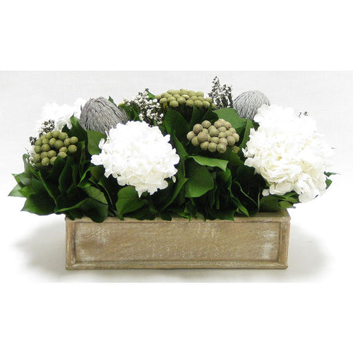 Wooden Short Rect.Container Natural - Banksia Gray, Brunia Natural & Hydrangea White