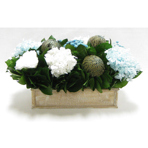 Wooden Short Rect Container Natural - Roses White, Banksia Blue, Buttons Blue, Hydrangea Ice Blue & White