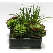 Load image into Gallery viewer, Wooden Short Square Container Black Antique - Succulents Green & Burgundy Artificial